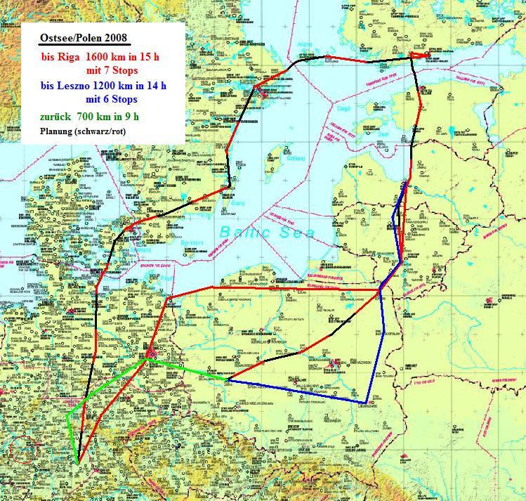 Karte Ostseeküste Polen.Polen 2008